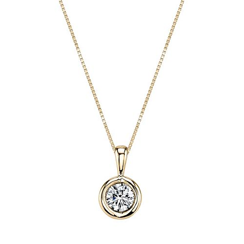 Sirena Collection 14k Gold 1/10 Carat T.W. Certified Diamond Solitaire Pendant Necklace