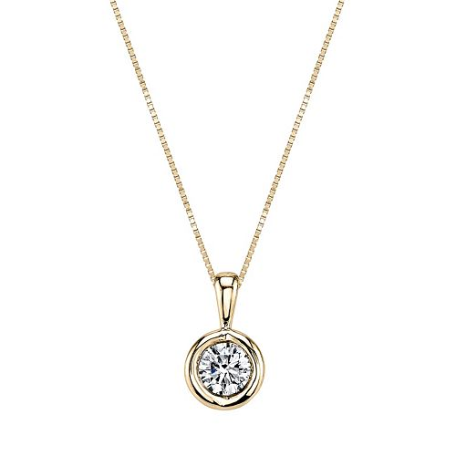 Sirena Collection 14k Gold 1/5 Carat T.W. Certified Diamond Solitaire Pendant Necklace