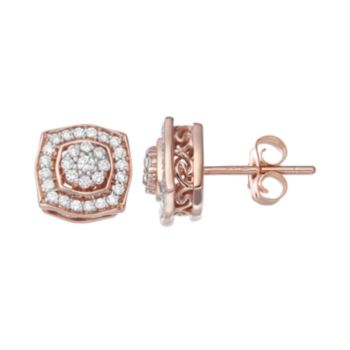 Simply Vera Vera Wang 14k Rose Gold 1/4 Carat T.W. Diamond Halo Stud Earrings