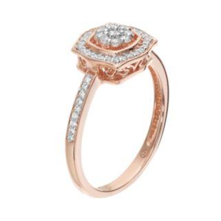 Simply Vera Vera Wang 1/4 Carat T.W. Diamond 14k Rose Gold Square Frame Ring