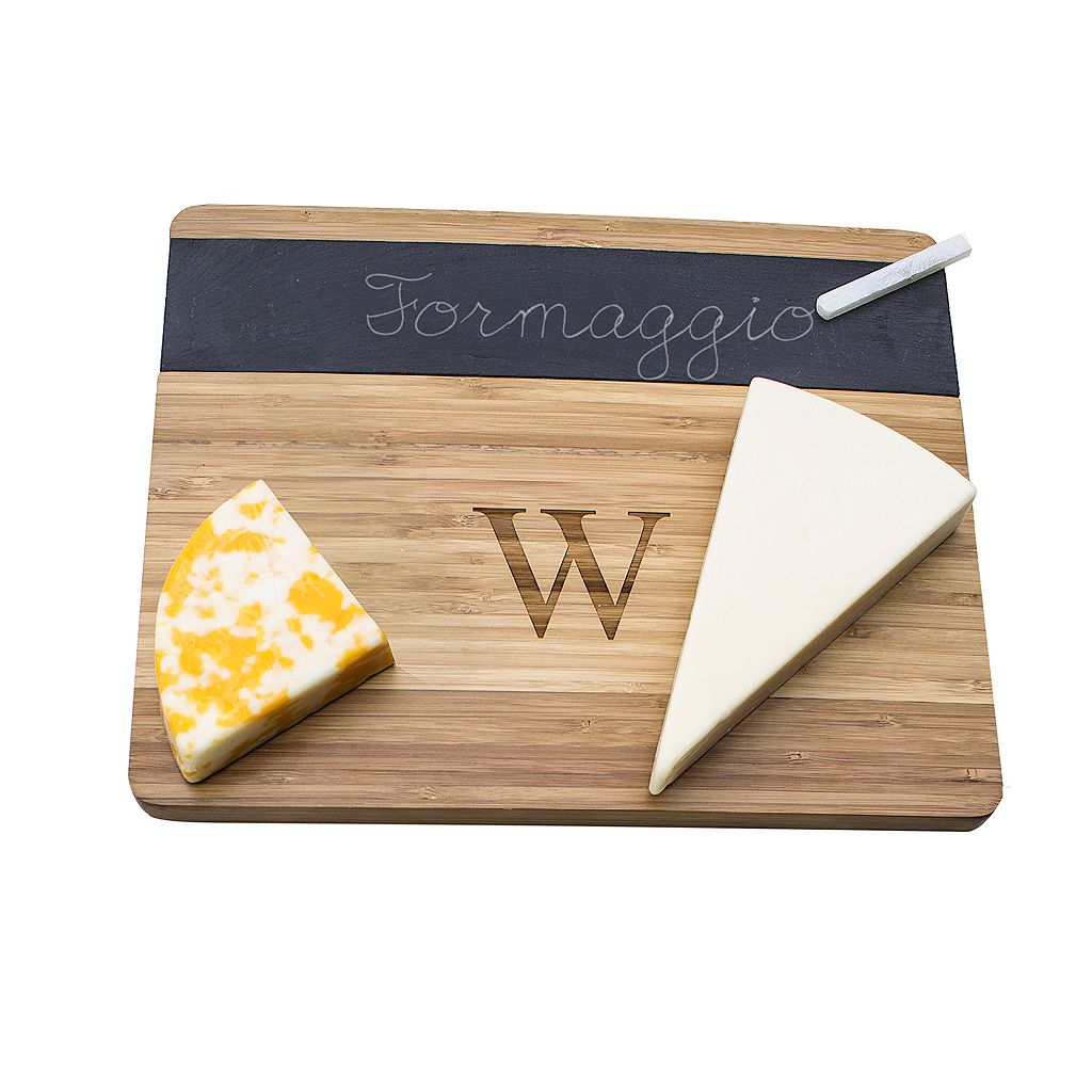 Cathy's Concepts Monogram Chalkboard Bamboo Cheese Board