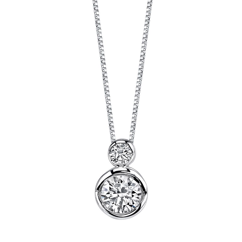 Sirena Collection 14k White Gold 1/4 Carat T.W. Certified Diamond 2-Stone Pendant Necklace