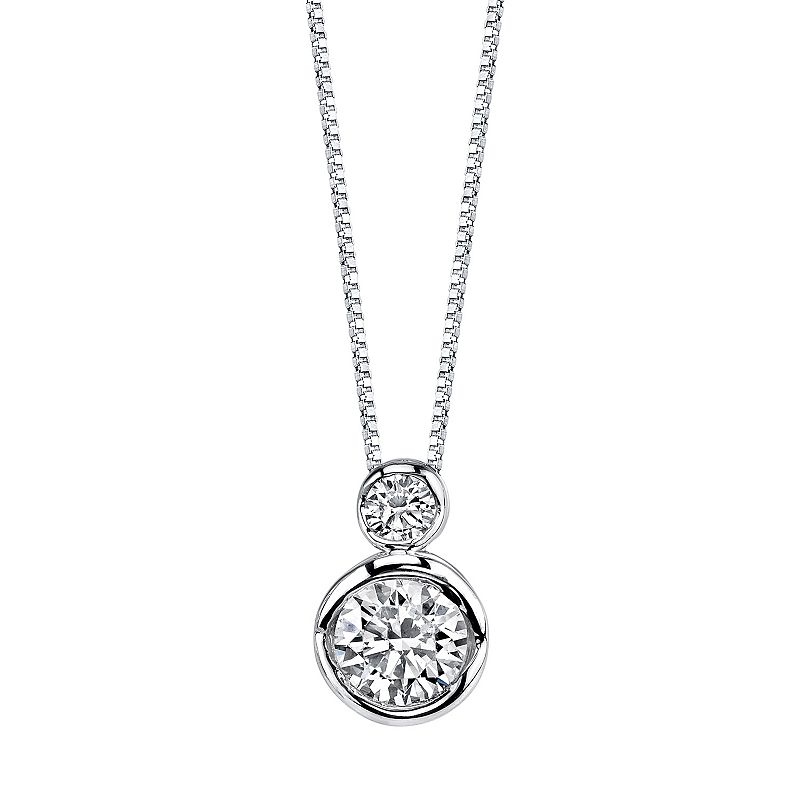 """Sirena Collection 14k White Gold 1/4 Carat T.W. Certified Diamond 2-Stone Pendant Necklace, Women's, Size: 18"""""""
