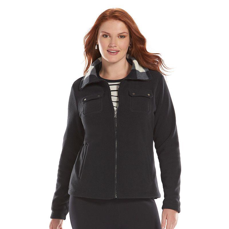 Plus Size Chaps Hooded Polar Fleece Jacket