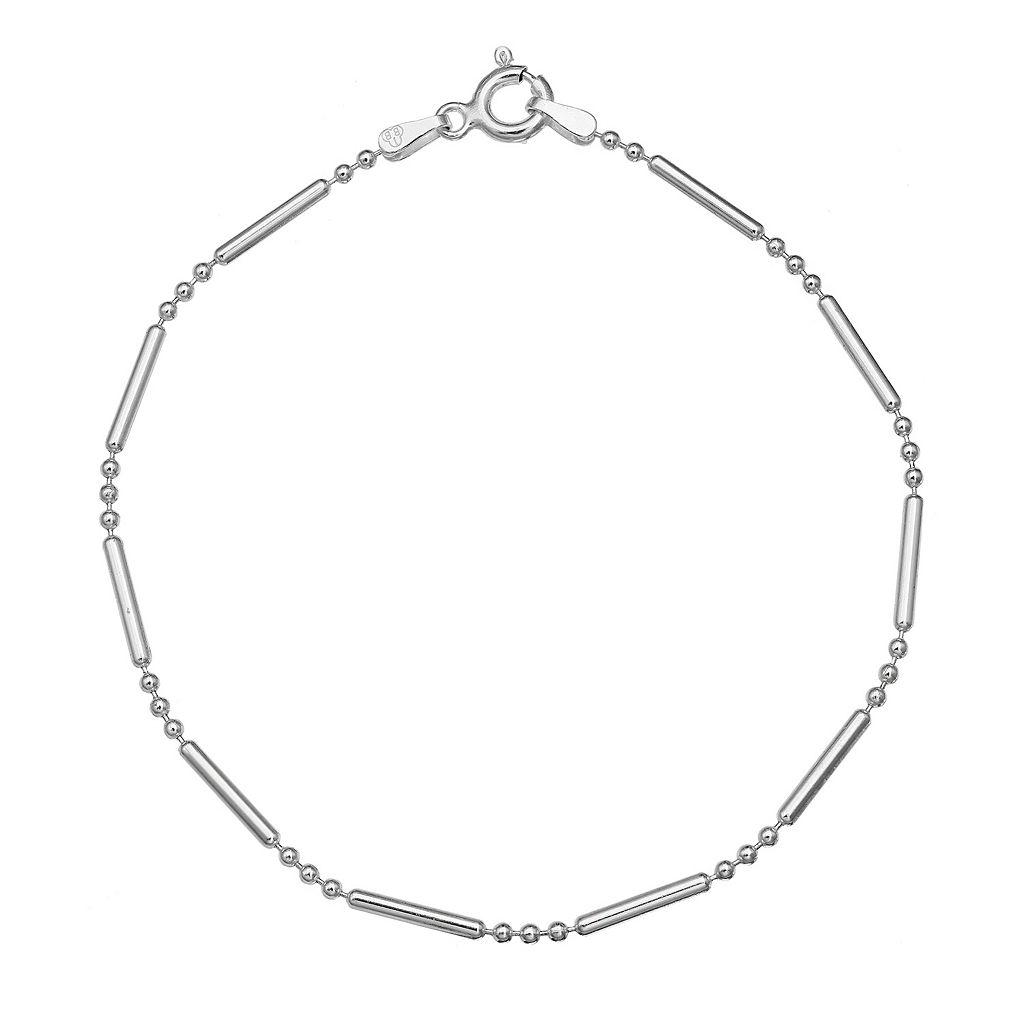 Sterling Silver Bead Chain Bracelet - 8 in.