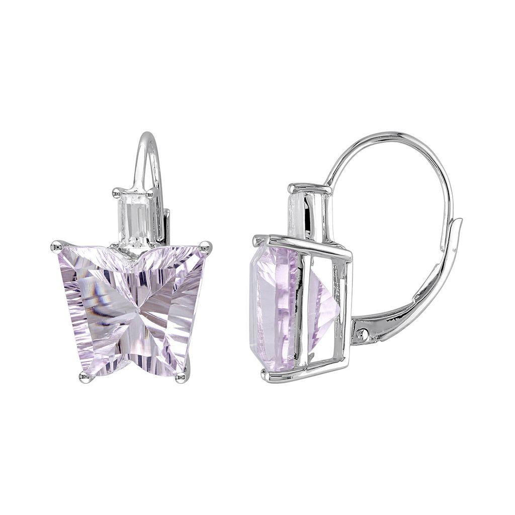 Rose de France & White Topaz Sterling Silver Butterfly Earrings