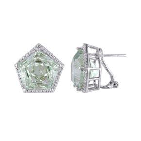 Green Quartz & White Topaz Sterling Silver Halo Earrings