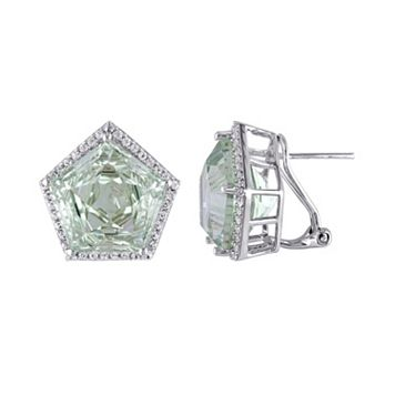 Green Quartz & White Topaz Sterling Silver Halo Earrings