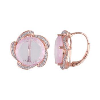 Rose Quartz & White Topaz Pink Rhodium-Plated Sterling Silver Earrings