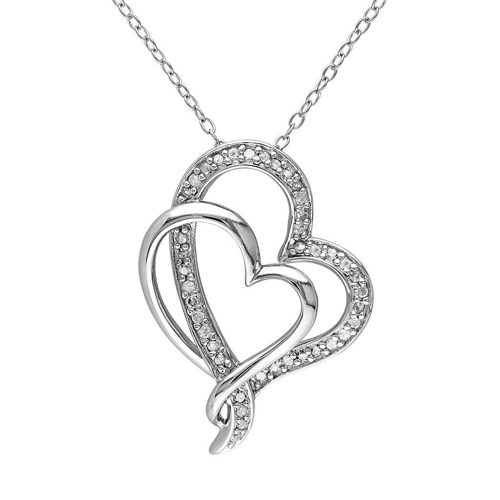1/4 Carat T.W. Diamond Sterling Silver Heart Pendant Necklace
