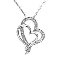 1/4 Carat T.W. Diamond Sterling Silver Heart Pendant Necklace