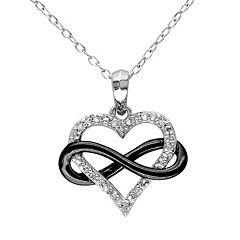 Stella Grace 1/10 Carat T.W. Diamond Sterling Silver Two Tone Infinity Heart Pendant