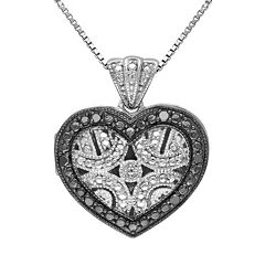 Black Diamond Accent Sterling Silver Heart Pendant Necklace