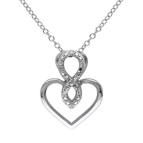 Stella Grace Diamond Accent Sterling Silver Infinity Heart Pendant Necklace