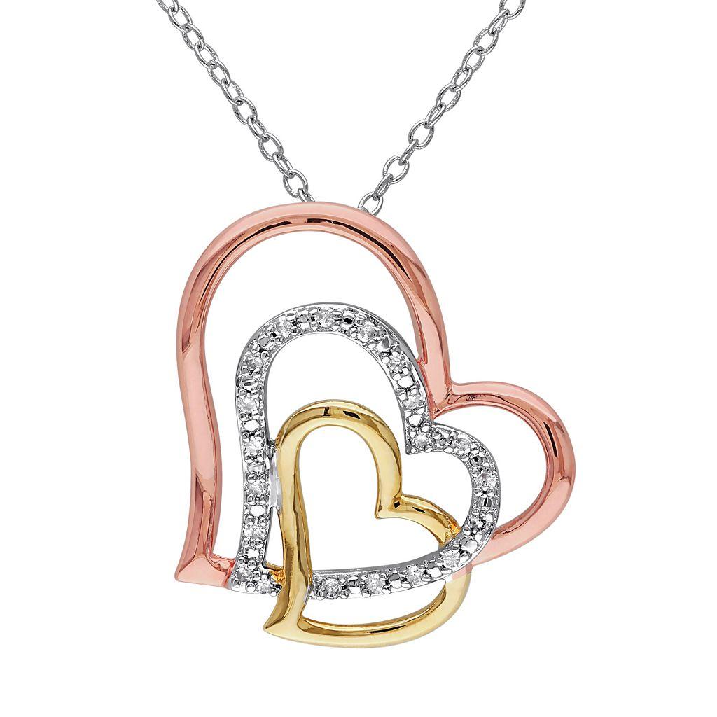 1/10 Carat T.W. Diamond Sterling Silver Tri-Tone Heart Pendant