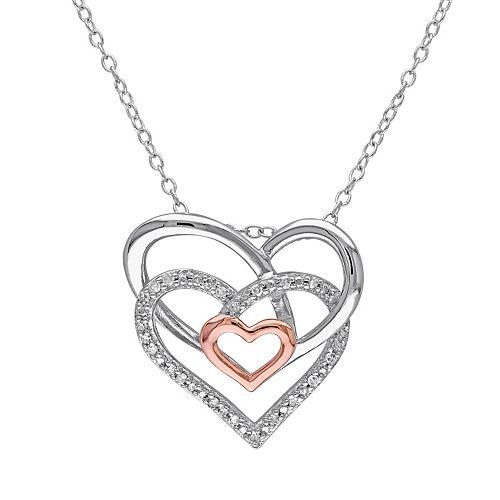 Stella Grace 1/10 Carat T.W. Diamond Sterling Silver Two Tone Heart Pendant