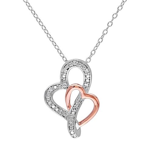 Diamond Accent Sterling Silver Two Tone Heart Pendant Necklace