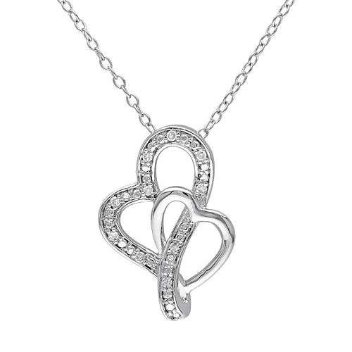 Stella Grace Diamond Accent Sterling Silver Heart Pendant Necklace