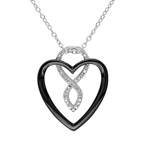 Stella Grace Diamond Accent Sterling Silver Two Tone Infinity Heart Pendant
