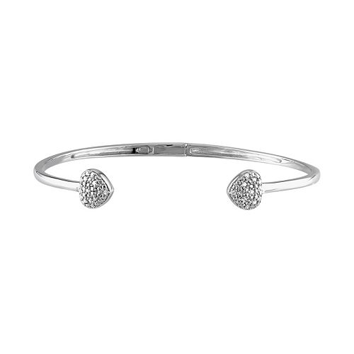 1/10 Carat T.W. Diamond Sterling Silver Heart Cuff Bracelet