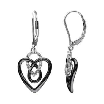 1/10 Carat T.W. Diamond Two Tone Sterling Silver Heart Drop Earrings