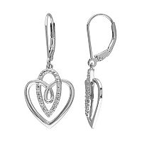 1/10 Carat T.W. Diamond Sterling Silver Heart Drop Earrings