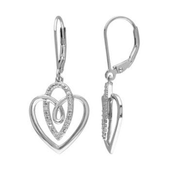 Stella Grace 1/10 Carat T.W. Diamond Sterling Silver Heart Drop Earrings