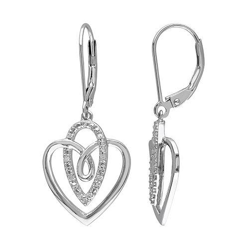 1/10 Carat T.W. Diamond Sterling Silver Heart Drop Earrings