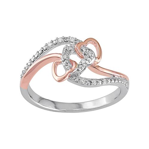 Diamond Accent Two Tone Sterling Silver Interlock Heart Ring