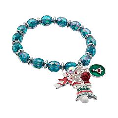 Beaded Christmas Tree, Candy Cane & Bell Charm Stretch Bracelet