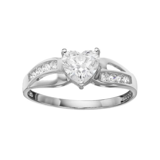 Emotions Cubic Zirconia 10k Gold Heart Ring - Made with Swarovski Zirconia