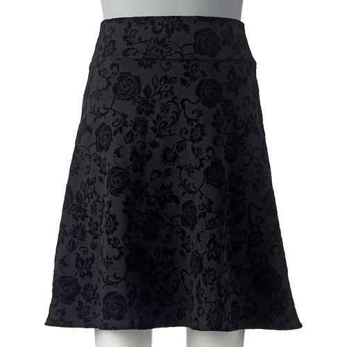 Juniors' Joe B Floral Flocked Skirt
