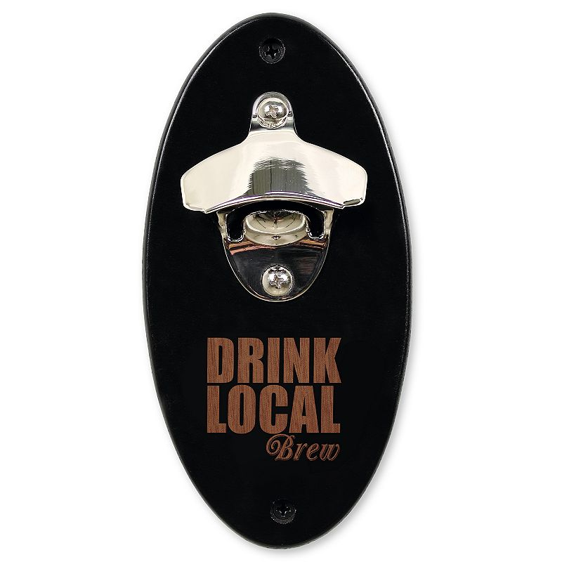 """Cathy's Concepts """"Drink Local Brew"""" Wall-Mounted Bottle Opener, Black"""