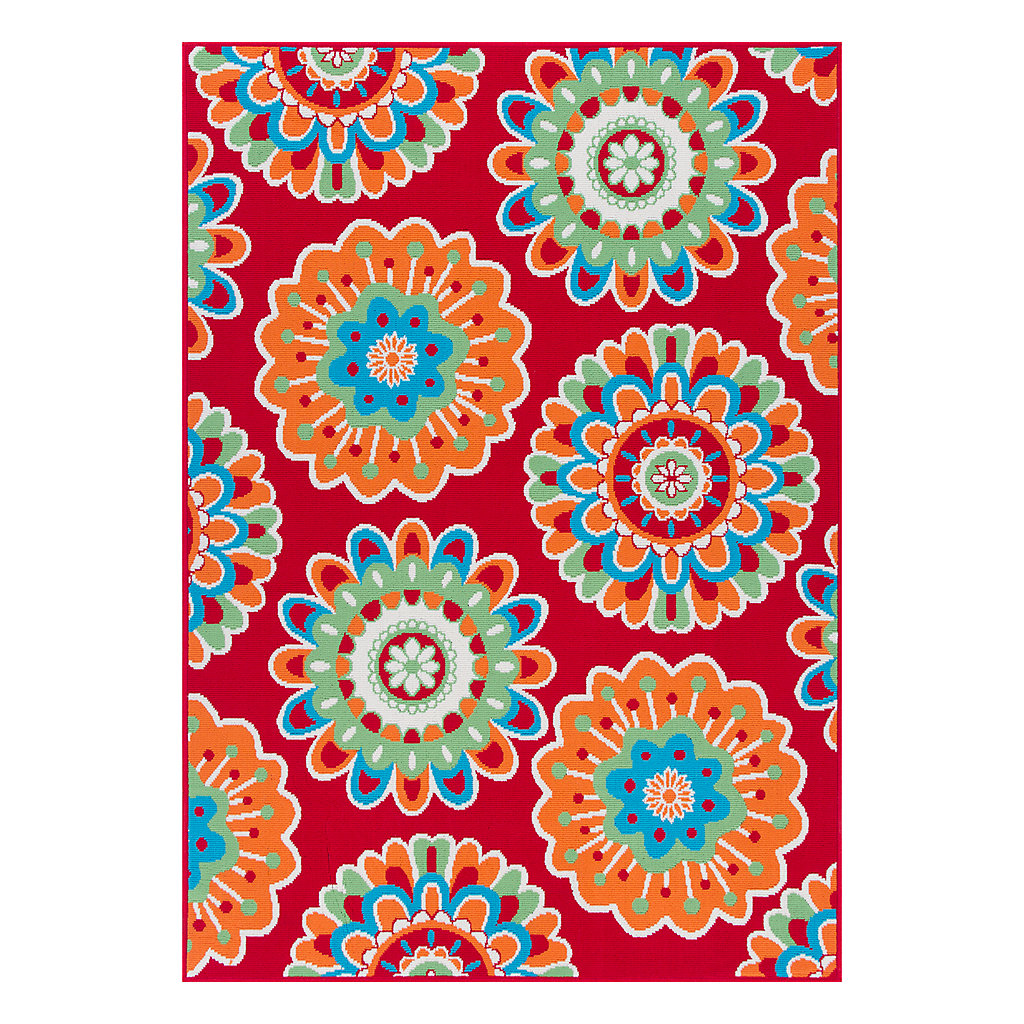 Celebrate Summer Floral Medallion Indoor Outdoor Rug