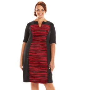 Plus Size Connected Apparel Pintuck Striped Sheath Dress