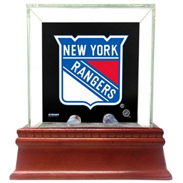 Steiner Sports Glass Single Puck Display Case with New York Rangers Logo Background