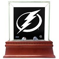 Steiner Sports Glass Single Puck Display Case with Tampa Bay Lightning Logo Background