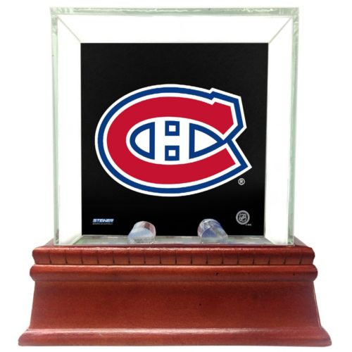 Steiner Sports Glass Single Puck Display Case with Montreal Canadiens Logo Background