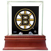 Steiner Sports Glass Single Puck Display Case with Boston Bruins Logo Background