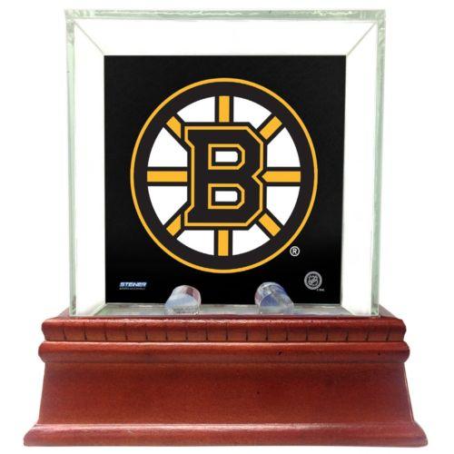 Steiner Sports Glass Single Puck Display Case with Boston Bruins Logo Background