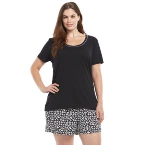 Plus Size Jockey Pajamas: Tee and Shorts Pajama Set