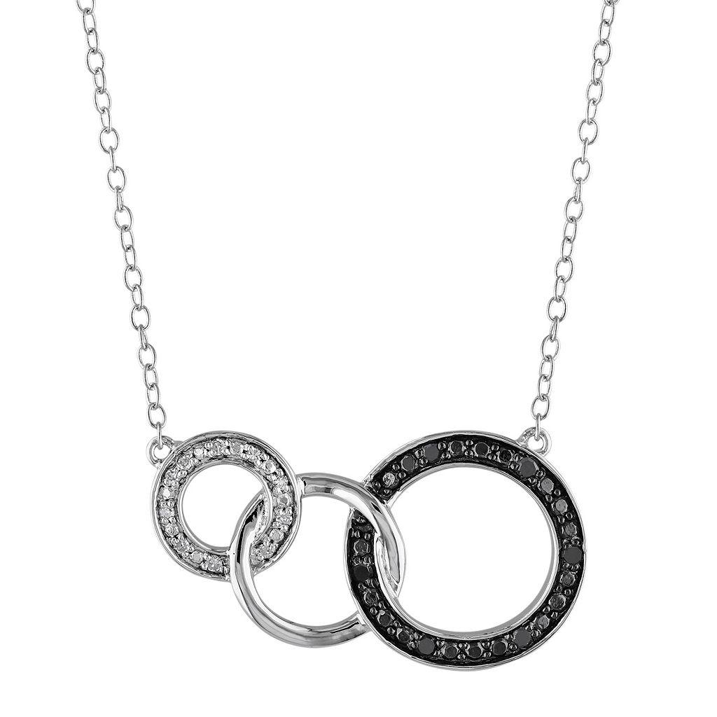1/10 Carat T.W. Black & White Diamond Sterling Silver Circle Link Necklace