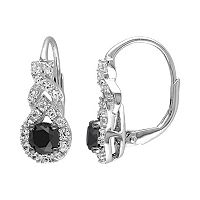 1 Carat T.W. Black Diamond & Lab-Created White Sapphire Sterling Silver Twist Drop Earrings