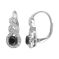 Stella Grace 1 Carat T.W. Black Diamond & Lab-Created White Sapphire Sterling Silver Twist Drop Earrings