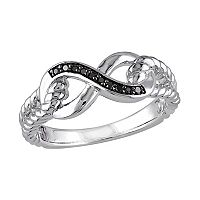 Black Diamond Accent Sterling Silver Infinity Ring