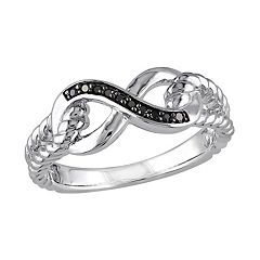Stella Grace Black Diamond Accent Sterling Silver Infinity Ring