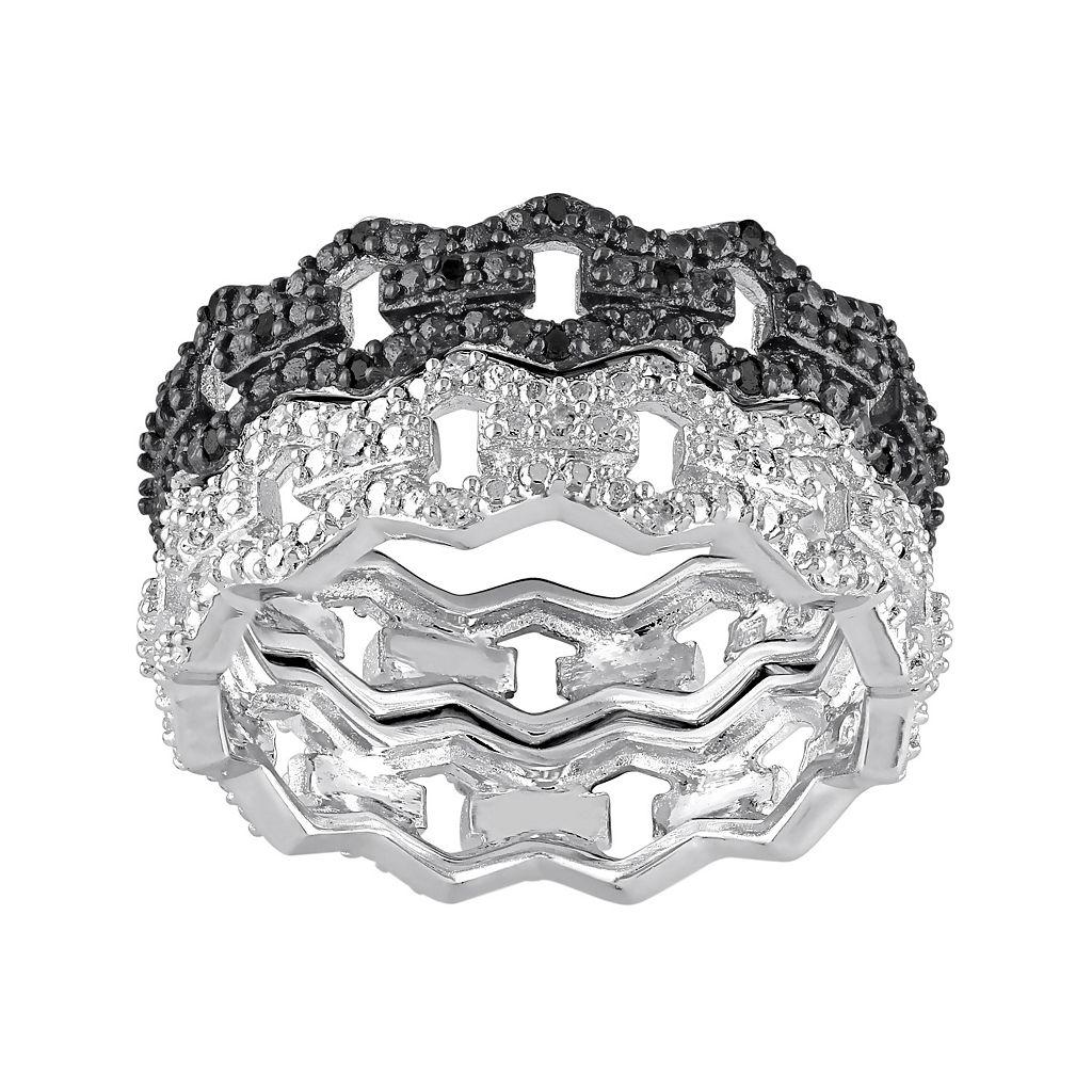 1/8 Carat T.W. Black & White Diamond Sterling Silver Chain Link Ring Set