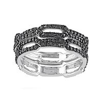 1/8 Carat T.W. Black Diamond Sterling Silver Chain Link Ring Set