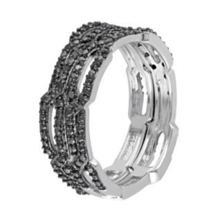 1/8 Carat T.W. Black Diamond Sterling Silver Chain Link Ring Set