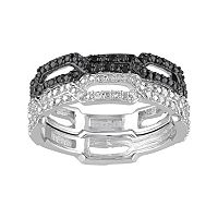 1/8 Carat T.W. Black & White Diamond Sterling Silver Chain Link Ring Set